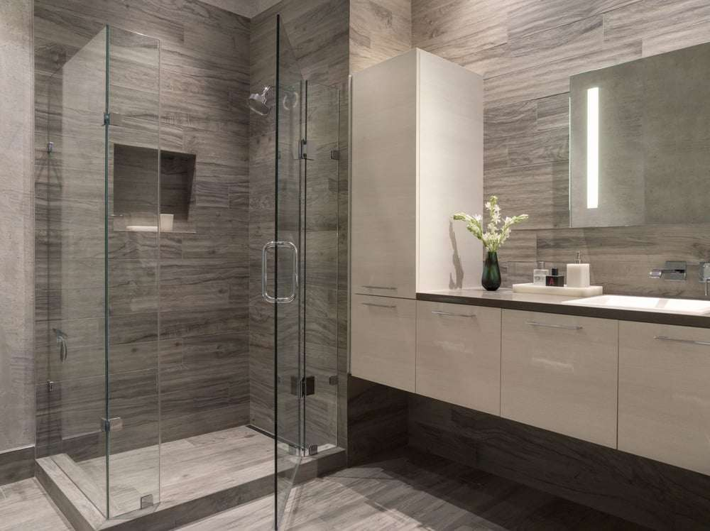 Modern Bathroom San Francisco Gray White Glass Enclosed Shower
