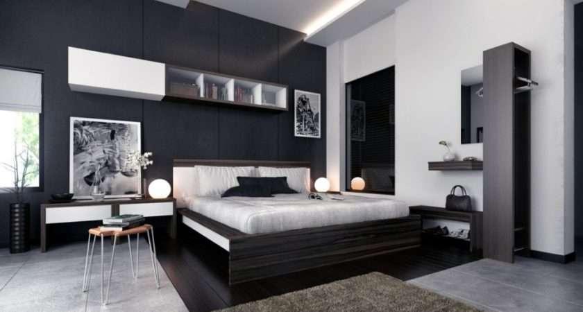 Modern Bedroom Black White Prints Interior Design Ideas