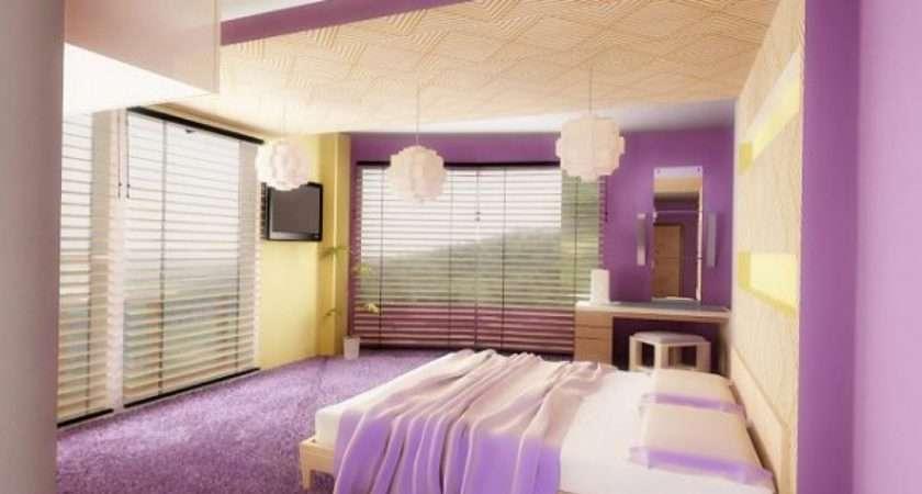 Modern Bedroom Interior Designs Purple Color Scheme