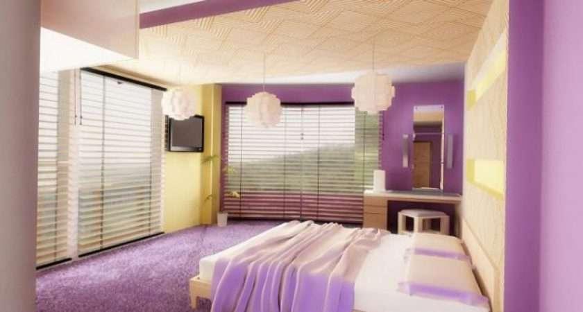 Modern Bedroom Paint Color Schemes Designs Purple Scheme