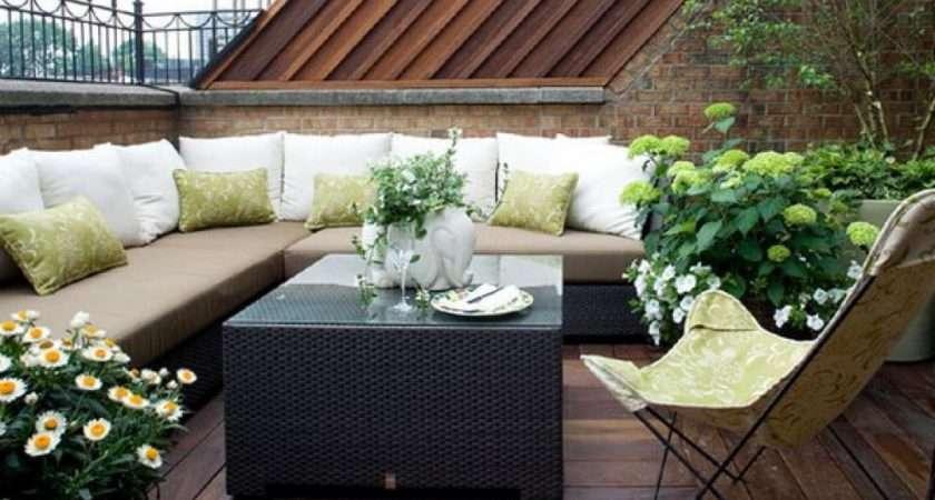 Modern Colorful Patio House Design Rooftop Deck Small Garden