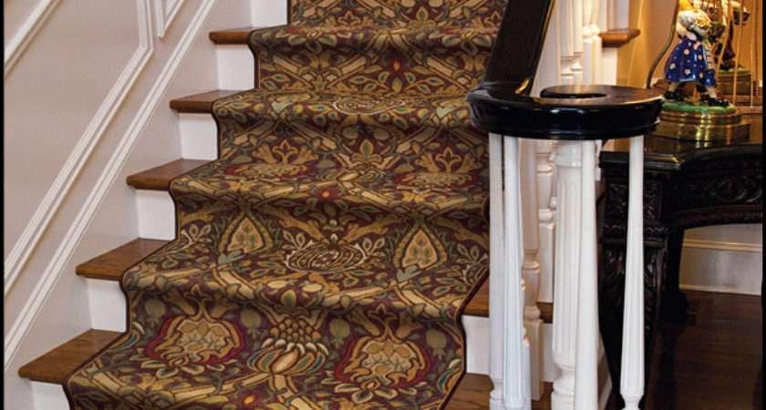 Modern Damask Cocoa Carpet Stair Runner