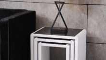 Modern Design High Gloss White Black Glass Nest