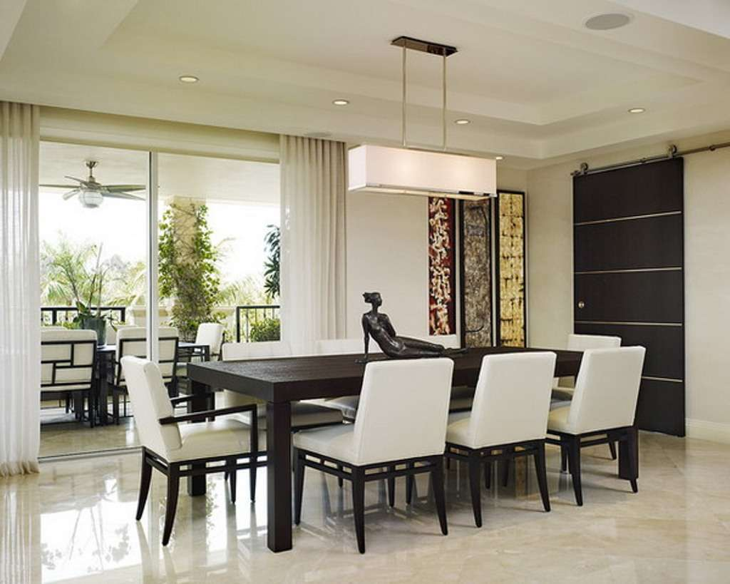 Modern Dining Room Sets Black Solid Wooden Table White