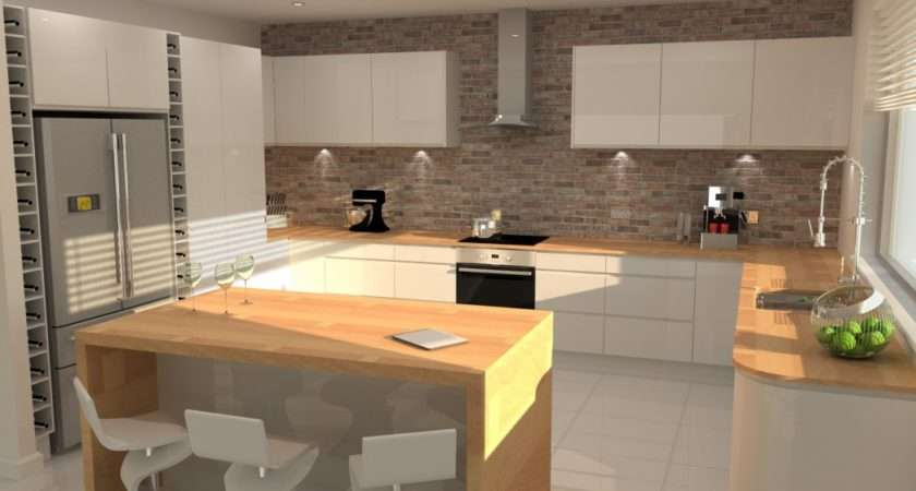 Modern Gloss Kitchen Brick Feature Wall Designs