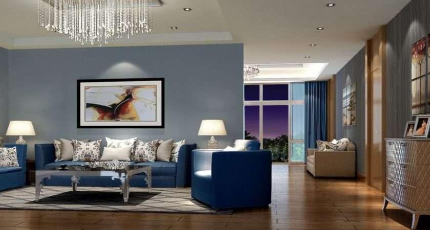 Modern Living Room Interior Decorating Ideas Blue
