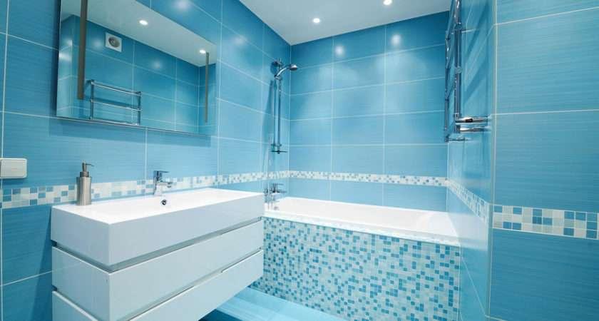 Modern Luxury Bathroom Beautiful Blue Tile Laminate City