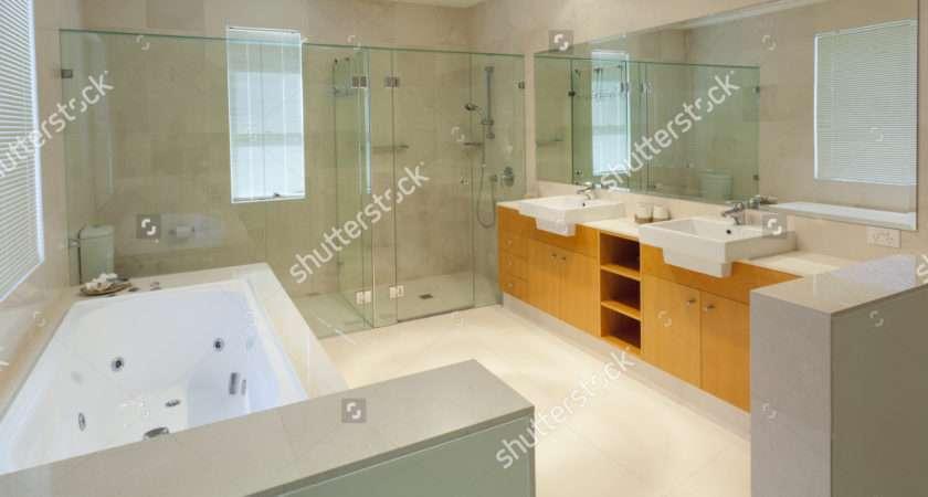 Modern Marble Bathroom Twin Sinks Shower Bath Tub