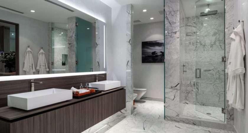 Modern Master Bathroom Vessel Sink High Ceiling