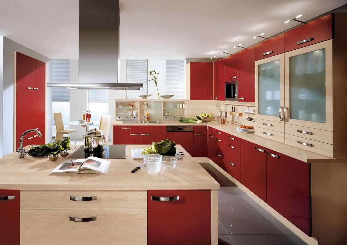 Modern Minimalist Kitchen Design Red Cabinet Decobizz