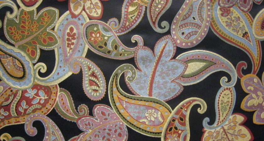 Modern Paisley Black Traditional Fabric
