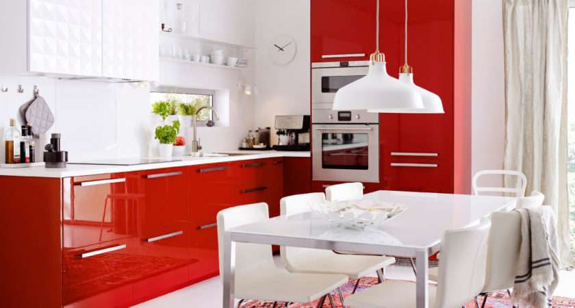 Modern Red Shaped Ikea Kitchen Design Ideas
