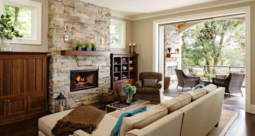 Modern Stone Fireplace Design Ideas Cream Living Room