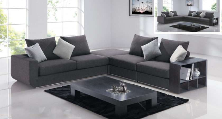 Modern Style Living Area Makeover Shaped Dark Grey