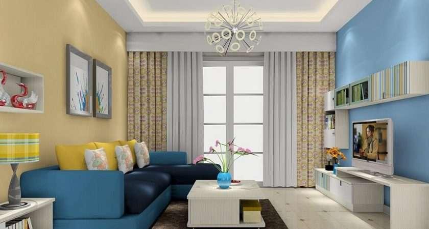 Modern Stylish Living Room Design Trendy Blue