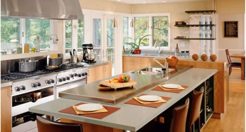 Modern Table Comfortable Brown Chairs Open Kitchen