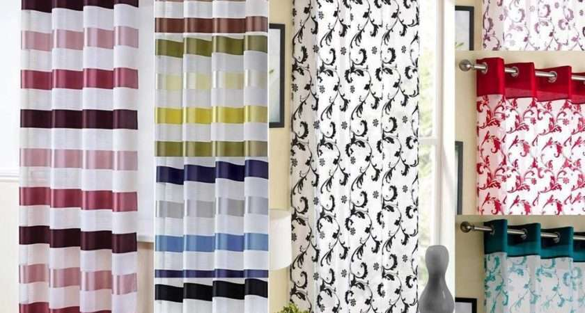 Modern Voile Curtain Panel Many Colours Eyelet Ring Top Panels