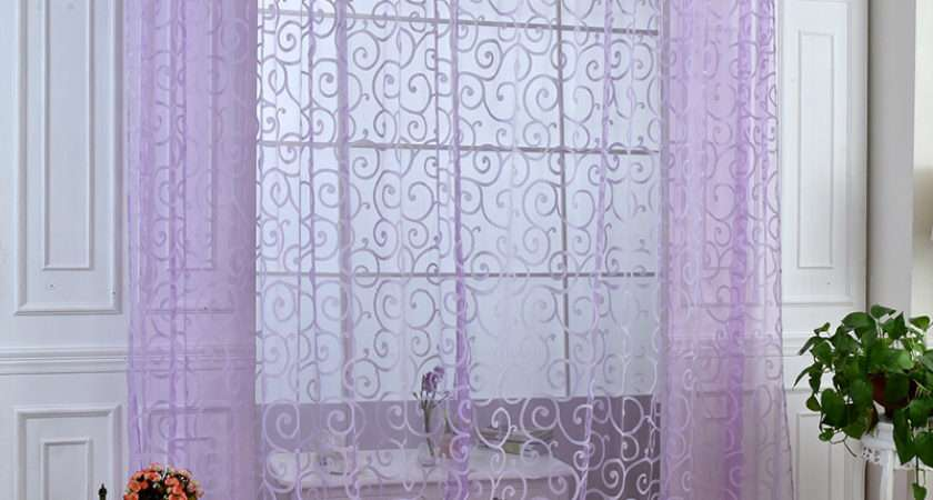Modern Voile Sheer Window Curtains Room Door Panel Drapes