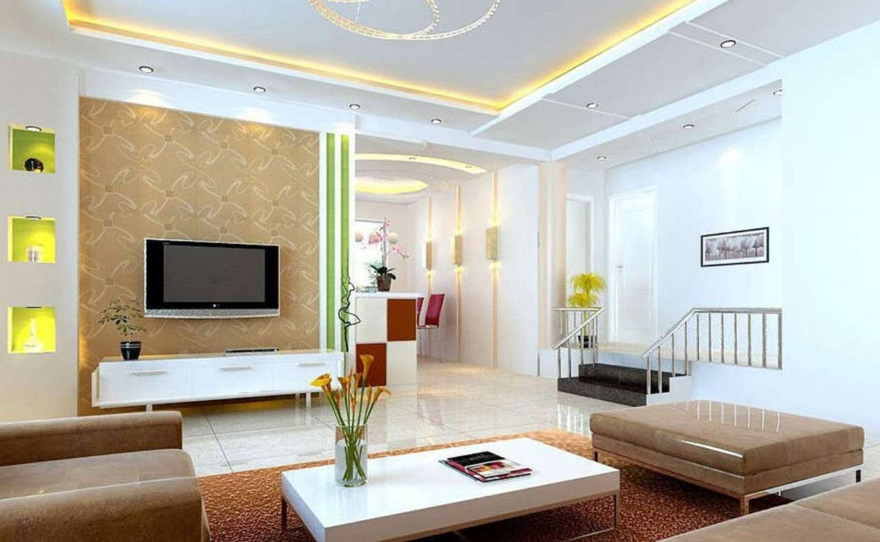 Modern Walls Designs Living Room Showcase