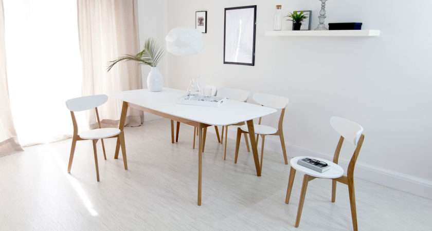 Modern White Oak Extending Dining Set Chairs