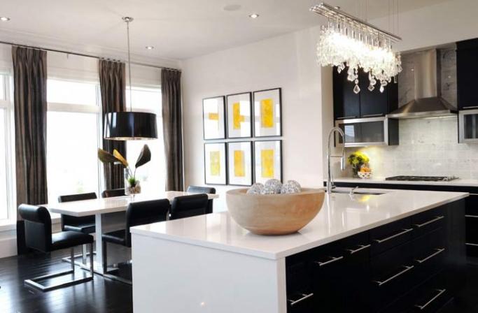 Modern White Yellow Black Kitchen Design Cabinets