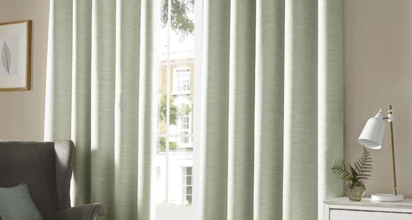 Monaco Blackout Lined Eyelet Curtains Sage Green Modern