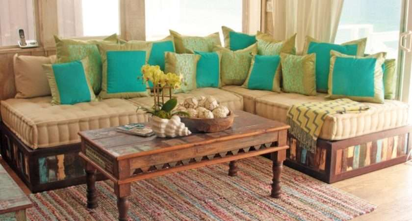 Moroccan Style Sofa Reclaimed Wood Eclectic Living