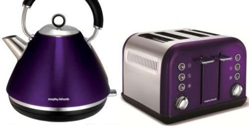 Morphy Richards Kettle Slice Toaster Accents Plum
