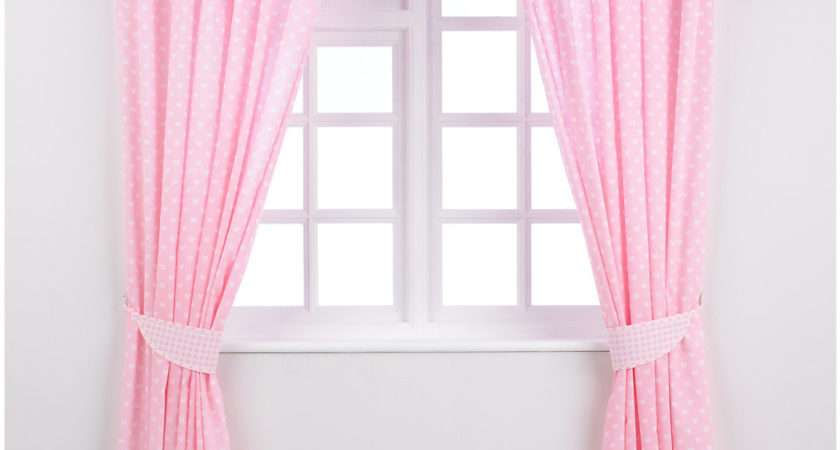 Mothercare Tab Top Curtains Tie Backs Pink