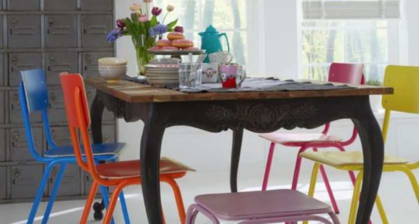 Multi Colored Dining Chairs Playful Touch Cor