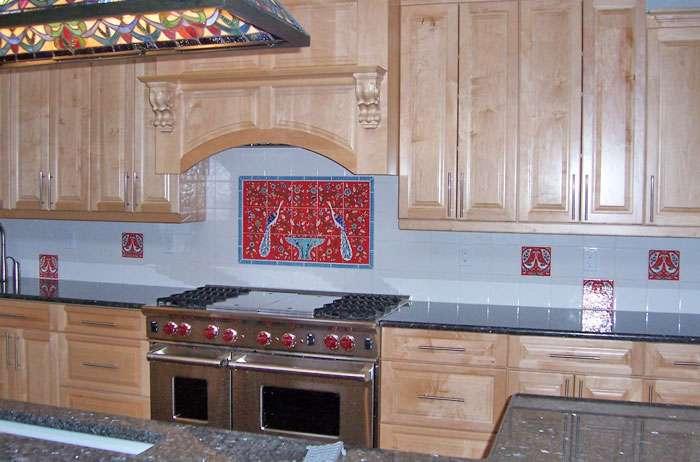 nancy red peacock kitchen tile backsplash