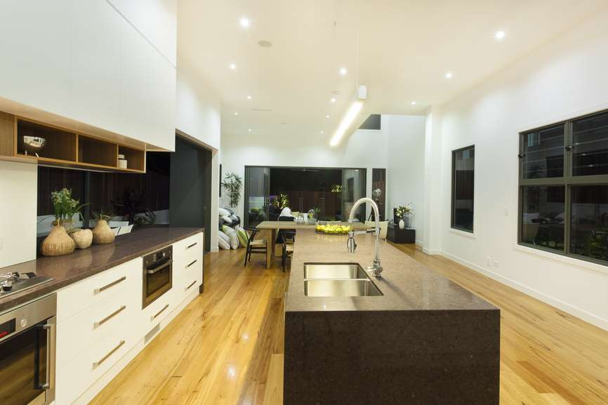 Narrow Long Kitchen Layout Design White Wood Cabinets
