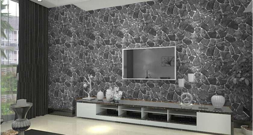 Natural Grey Brick Wall Stone Rock Slate Effect Vinyl Roll