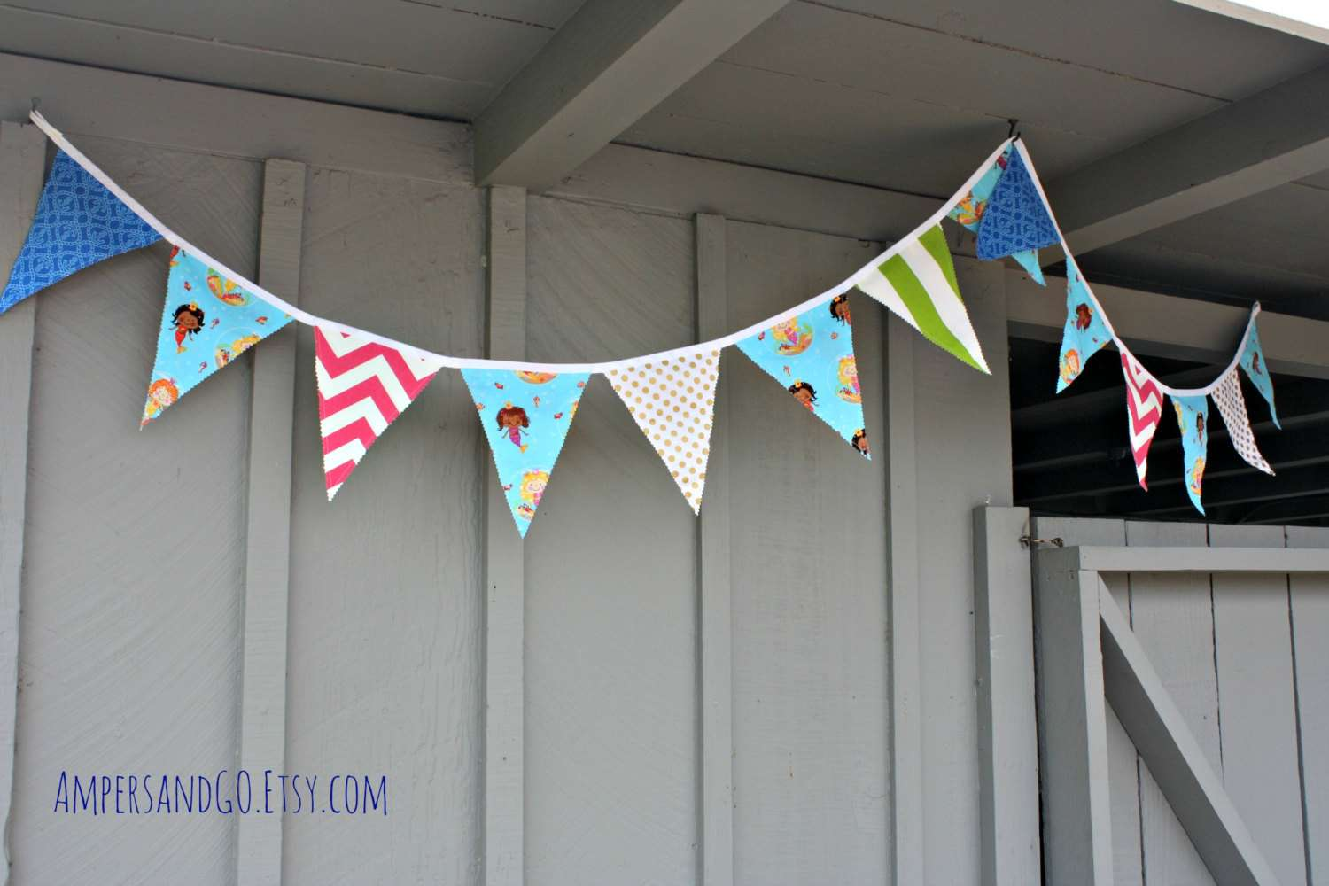 Nautical Mermaid Bunting Fabric Banner Flags Ampersandgo