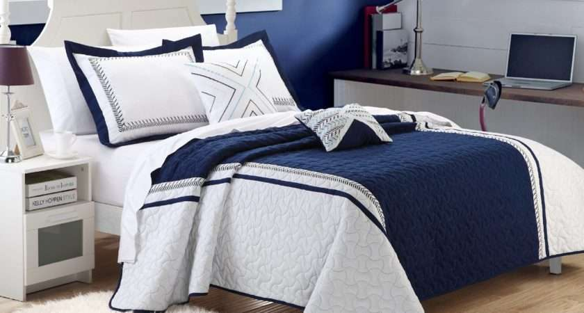 Navy Blue White Comforter Bedding Sets