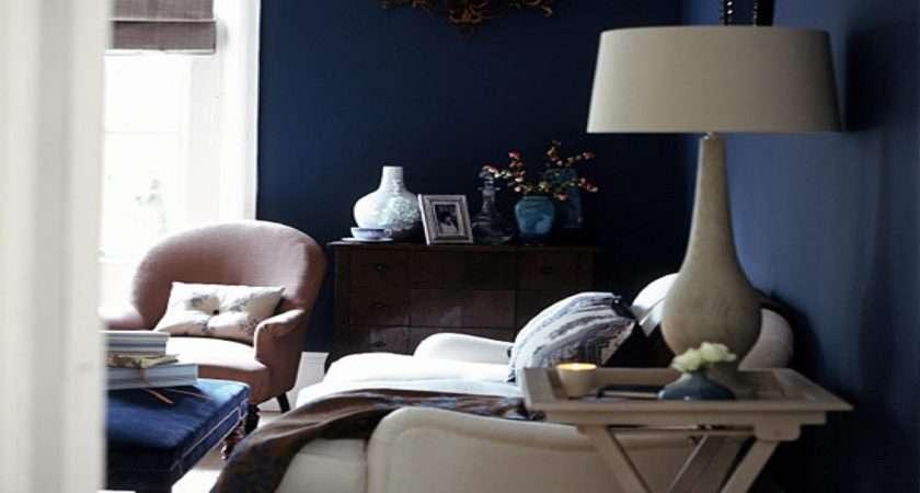 Navy Living Room Furniture Midnight Blue Wall