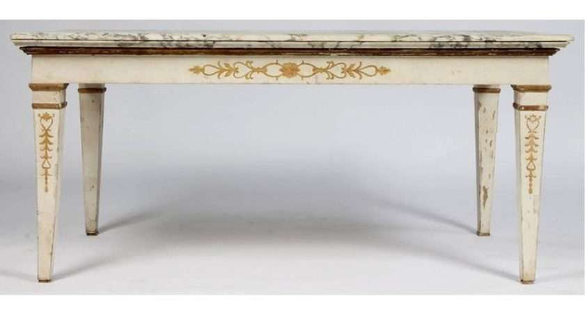 Neoclassical Console Table Painted White Gold Details