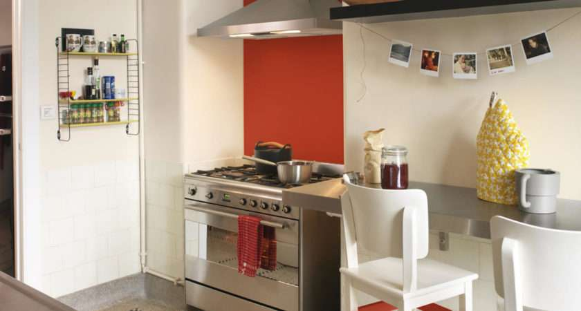 Neutral Kitchen One Bright Red Wall