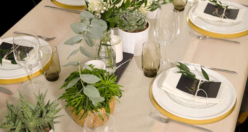 Neutral Table Setting Succulents
