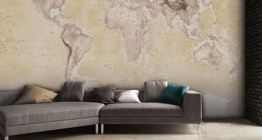 Neutral World Map Feature Wall Mural