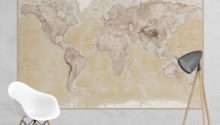 Neutral World Map Feature Wall Mural