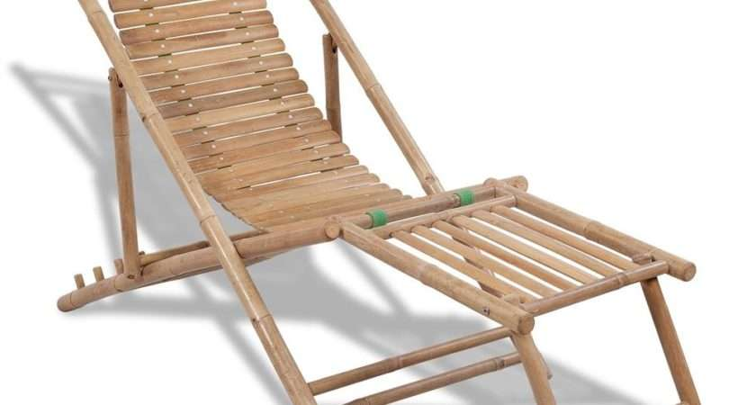 New Bamboo Deck Chair Footrest Furniture Patio Garden