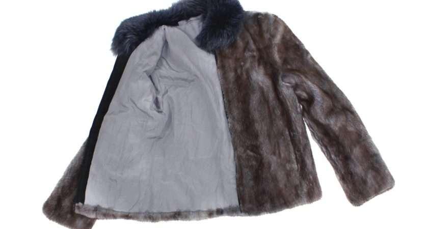 New Blue Grey Dyed Mink Fox Fur Trim Jacket Coat Stroller Small