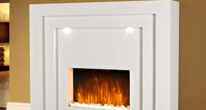 New Designer Standing Electric Fire Fireplace White