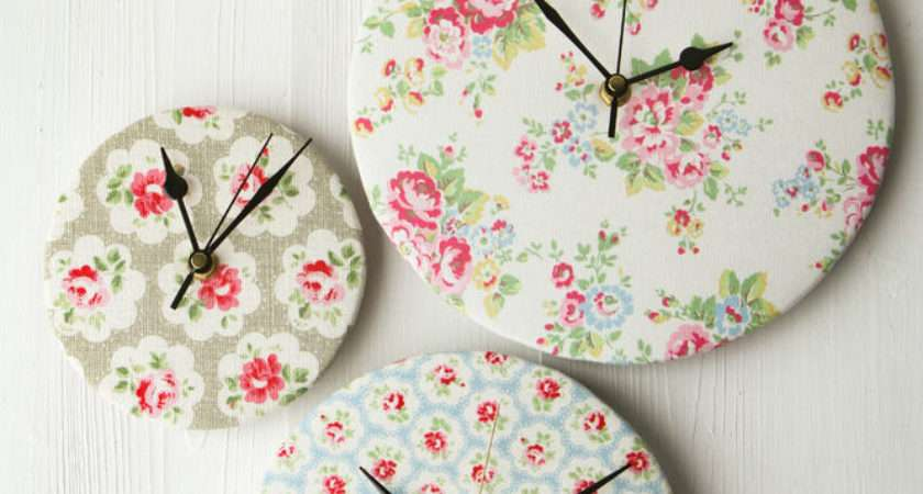 New Handmade Cath Kidston Floral Fabric Covered Wall Clock