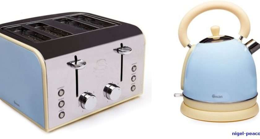 New Swan Blue Kettle Toaster Set