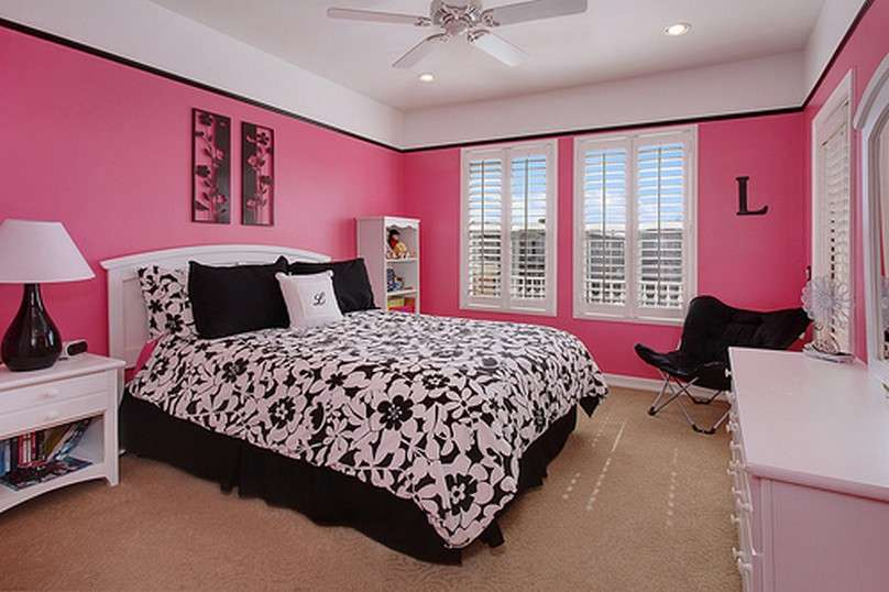 Nice Pink Bedroom Ideas Black White