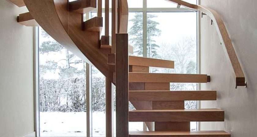 Oak Curved Staircase Contemporary Vision Design