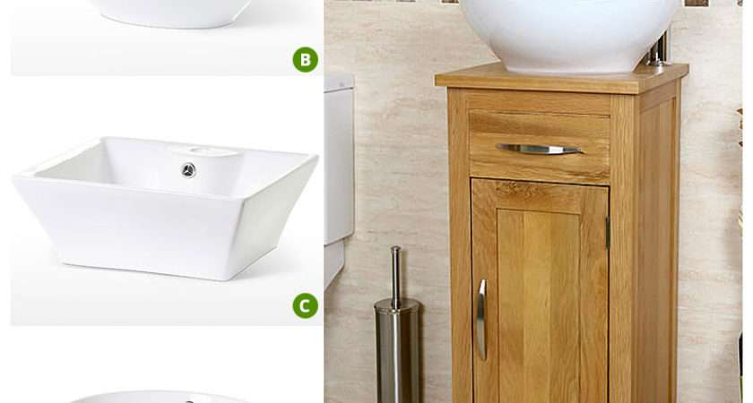 Off Compact Oak Cloakroom Vanity Unit Basin Sink