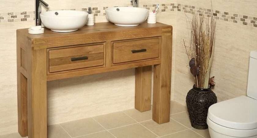 Off Oak Double Vanity Unit Basin Bathroom Milan